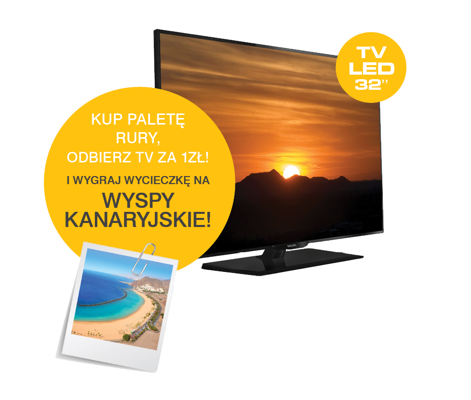 TV LED Philips 32'' za Paletę rury KAN-therm!